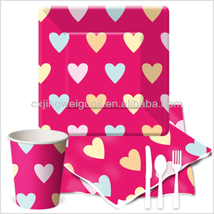 heart printed Valentine wedding decorative biodegradeable disposable kids birthday party paper tableware supplies