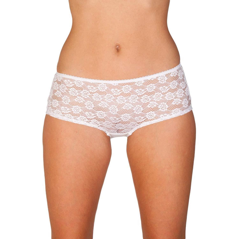 Camille Womens Ladies Underwear Lace Front Boxer Shorts Briefs White 6-16 4dde7a602