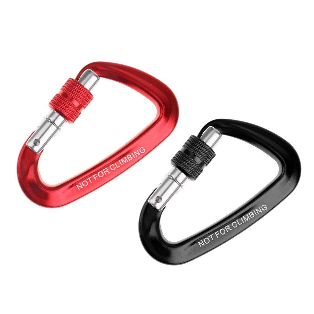 Baoblaze 12KN Alloy Screwgate Locking Carabiner For Climbing Hook Red +Black Hammock Hanging Buckle