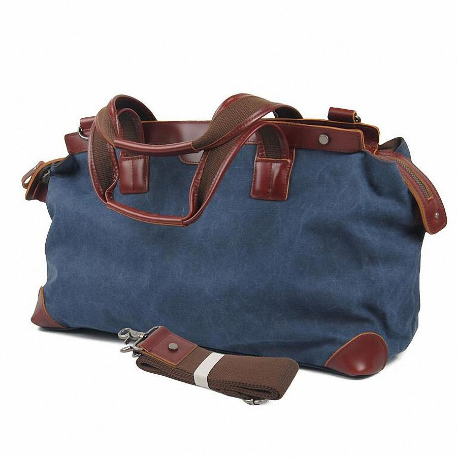 464ec838cc Get Quotations · Vintage genuine Leather Canvas men travel bags men weekend  luggage   bags sports   leisure bags