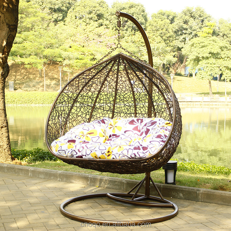 Luxury Outdoor Furniture Double Seat Swing Rattan Egg Chair Living Room Swing Chair D151#