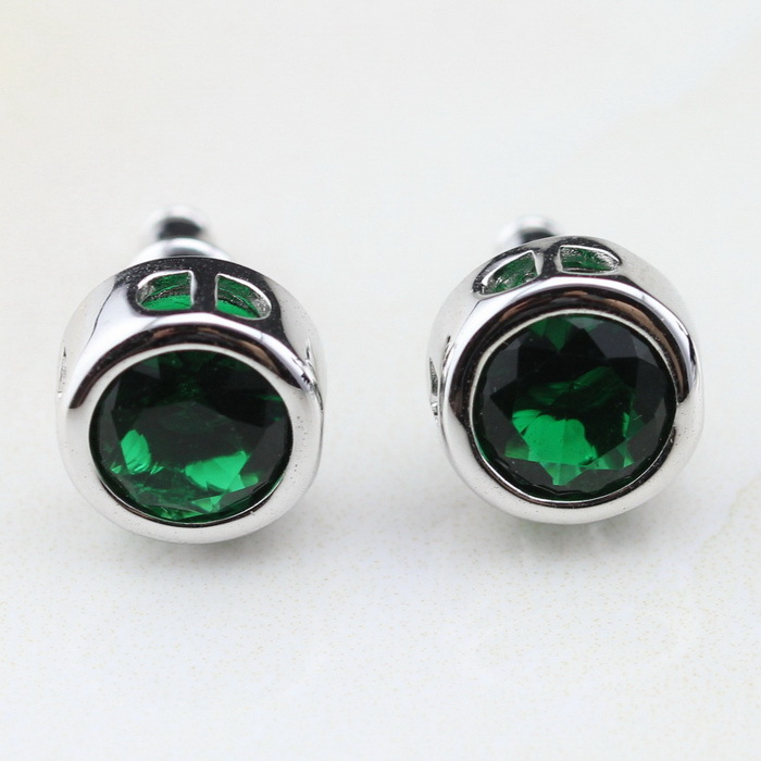Get Quotations Round Green Emerald Trendy Jewelry Silver Stud Earrings For Women Fashion Christmas Gift Free Box