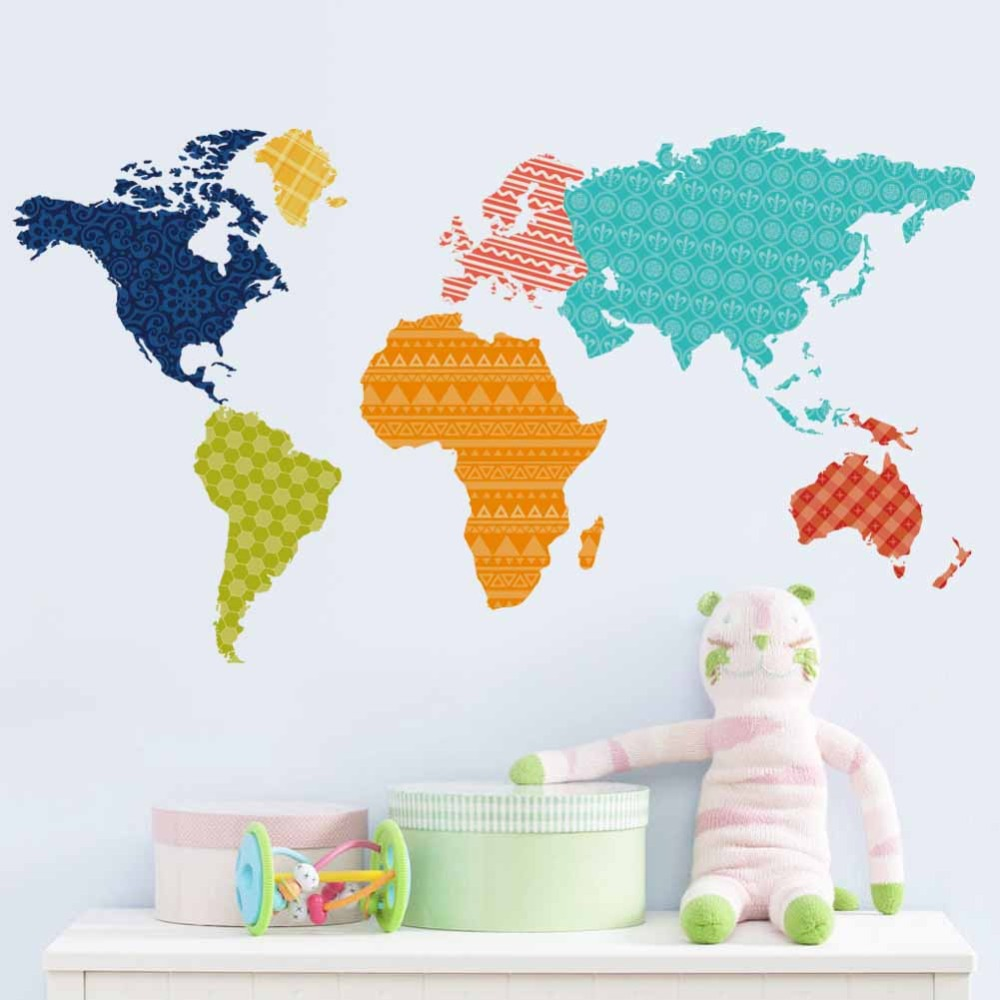Removable Art Colorful World Map PVC Decal Wall Sticker ...