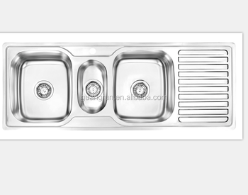 Stainless Steel Topmount Triple Bowl Kitchen Sink With Drainboard Gr ...