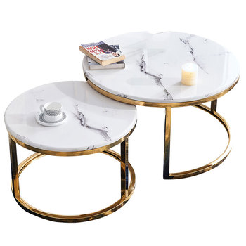 2 Pieces Modern White Marble Top Round Gold Coffee Table Nesting