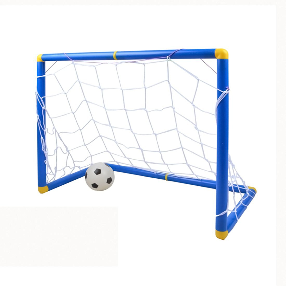 Soccer Goals, FINER Small Size Kids Children Sports Soccer Goals with Soccer Ball and Pump Practice Scrimmage Game - Blue + White by FINER SHOP