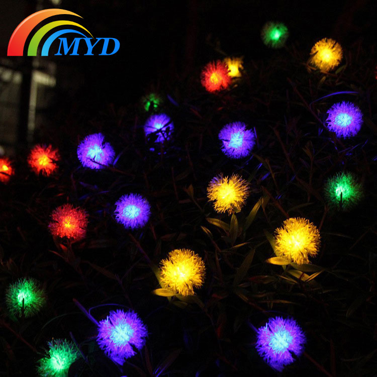 Cheap Outside Lights: Solar String Light With Furry Ball Cheap Price Solar