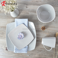 Personalize white square shape ceramic porcelain steak plate / dinnerware