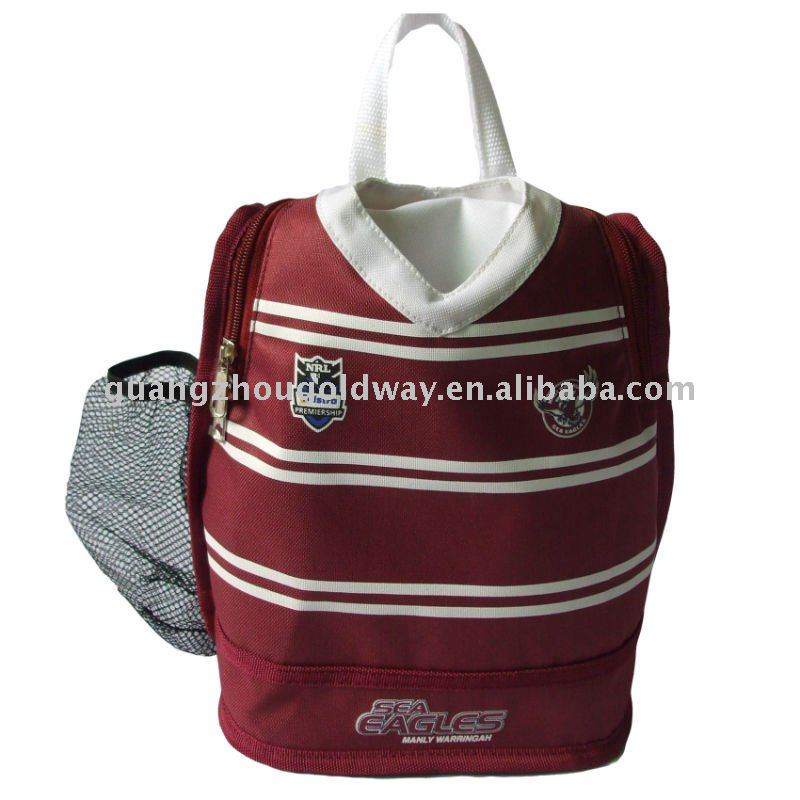 Polyester football club T-shirt shaped thermal bag cooler bag insulated lunch bag