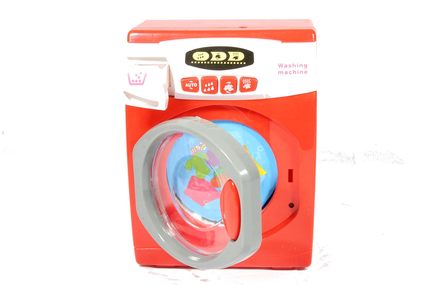 Pretend Play Battery Operated Laundry Toy Washing Machine Play Set w/ Lights, Sounds, Rotating Drum - Play Kreative TM
