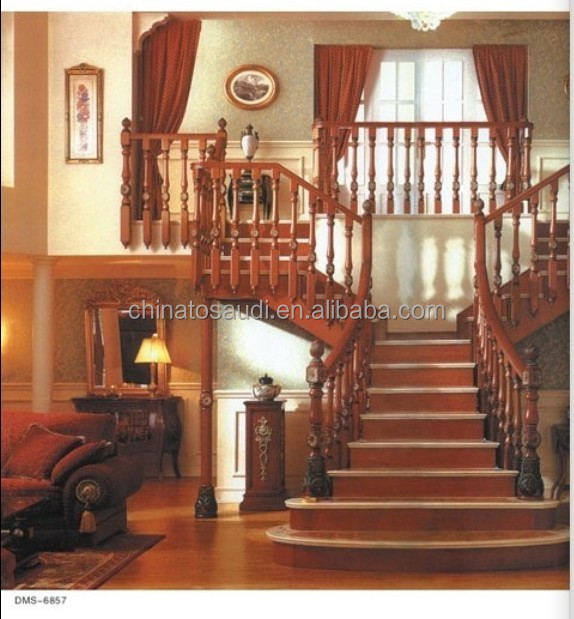 Indoor L-Shaped Antique Solid Wood Staircase