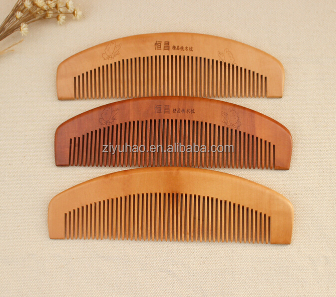 Handmade Sandalwood logo Pocket Comb Beard and Mustache Comb Hair Brush stock comb wholesale