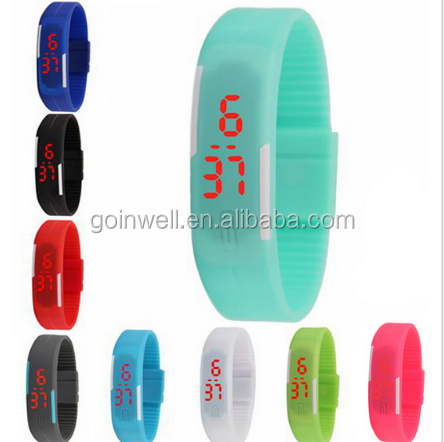 2017 cheap item promotional silicone waterproof LED sports watch, multicolor wholesale silicone watch
