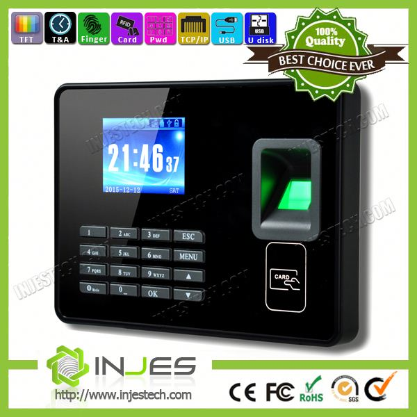 INJES Biometric fingerprint time attendance machine price online checking finger 12 volt battery time clock