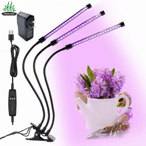 Cycle timing led grow lights 27w triple head led plants grow bar light dimmable led grow lights with 360degree flexible neck