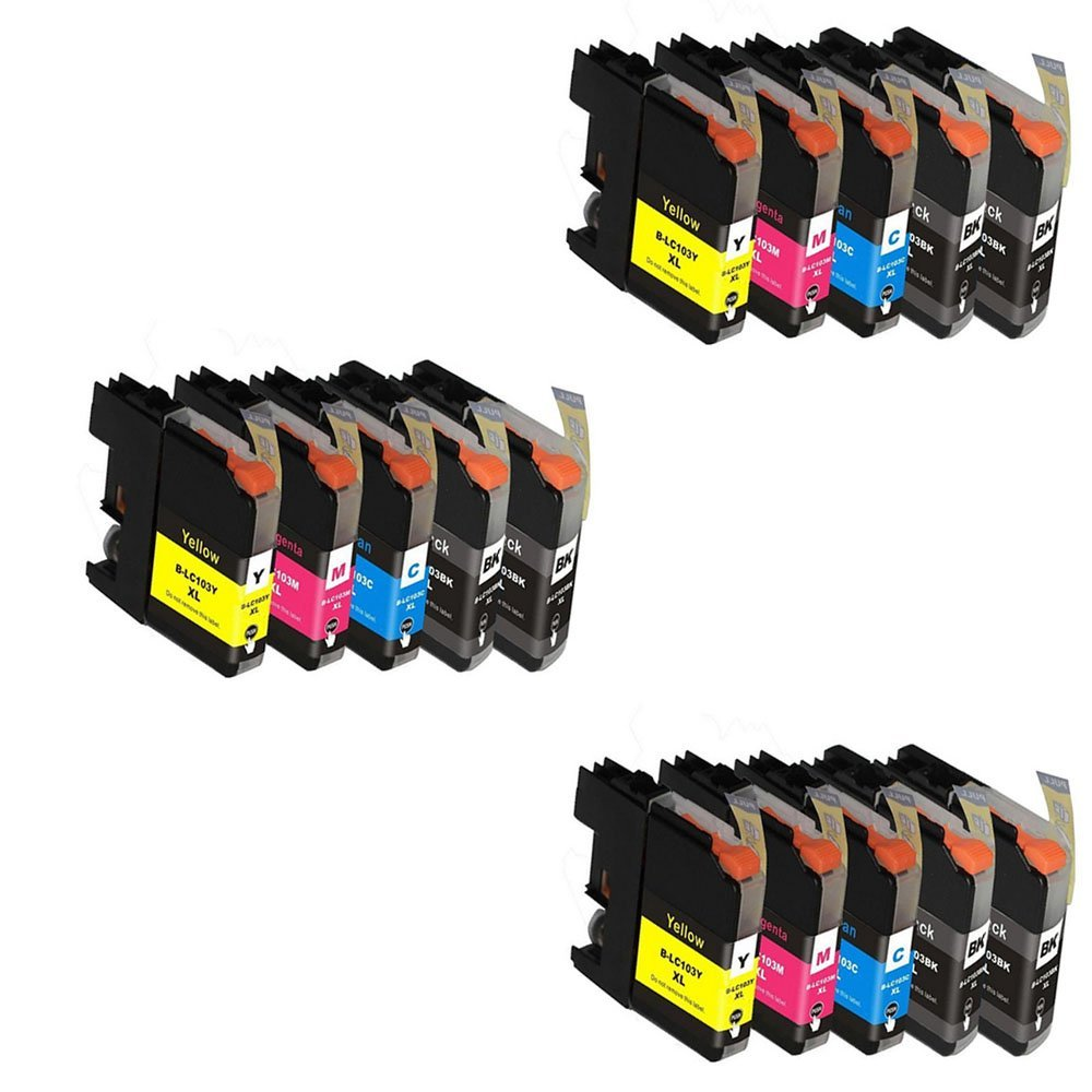HOTCOLOR(TM) 15 PK Compatible Ink Cartridge Replacement for Brother LC-103 LC 103XL LC103XL LC-103XL LC101XL Fits MFC-J870DW, MFC-J470DW, MFC-J475DW, MFC-J875DW, MFC-J650DW ect.