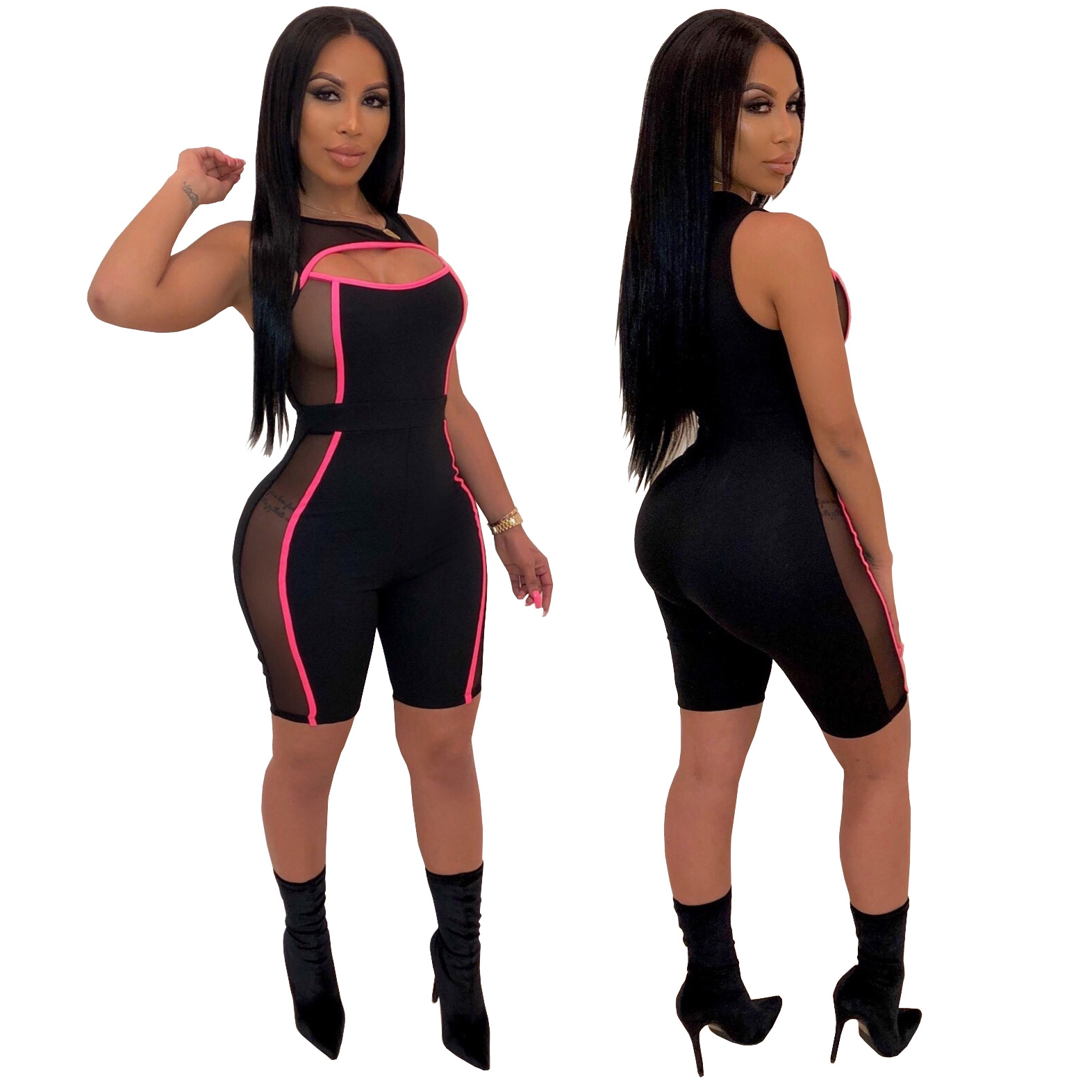9219 Net yarn splicing jumpsuits short rompers  jumpsuits women 2019