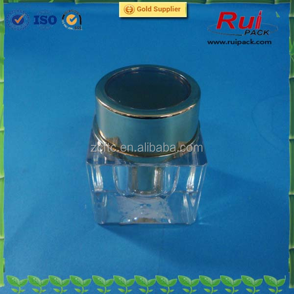 cosmetic clear acrylic plastic jar with UV gold plastic cap