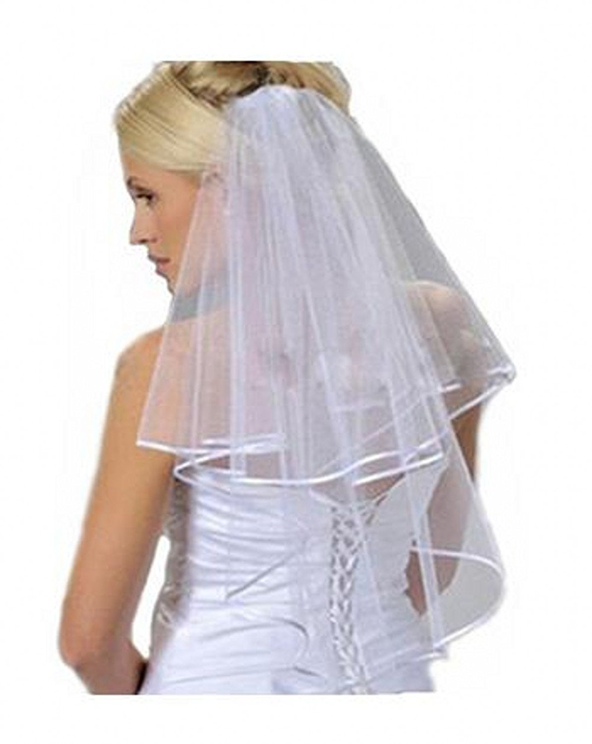WH Satin Ede Two Layers Bridal Veils with Comb Simple Wedding Veil White Ivory (Ivory)