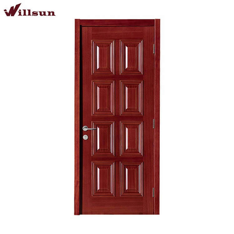 Foshan factory commercial wooden 8 panels door mahogany for 8 panel solid wood doors