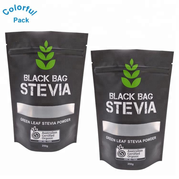مخصص مطبوع مطفي أسود قابل للإغلاق الاعشاب حقائب ورق ألومنيوم مزودة بسحاب أكياس مايلر