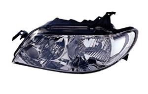 2002-2003 Mazda Protege 5 Hatchback Headlight Headlamp (with Aluminum Bezel Trim Housing) Composite Halogen Front Head Light Lamp Set Pair Left Driver And Right Passenger Side (02 03)