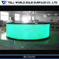 2017 Tell World New style curved solid surface LED bar counter for sale