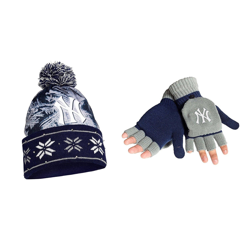 2d428fca7ea Get Quotations · MLB New York Yankees Big Logo Beanie And Glove Flip Top 2  Pack Bundle