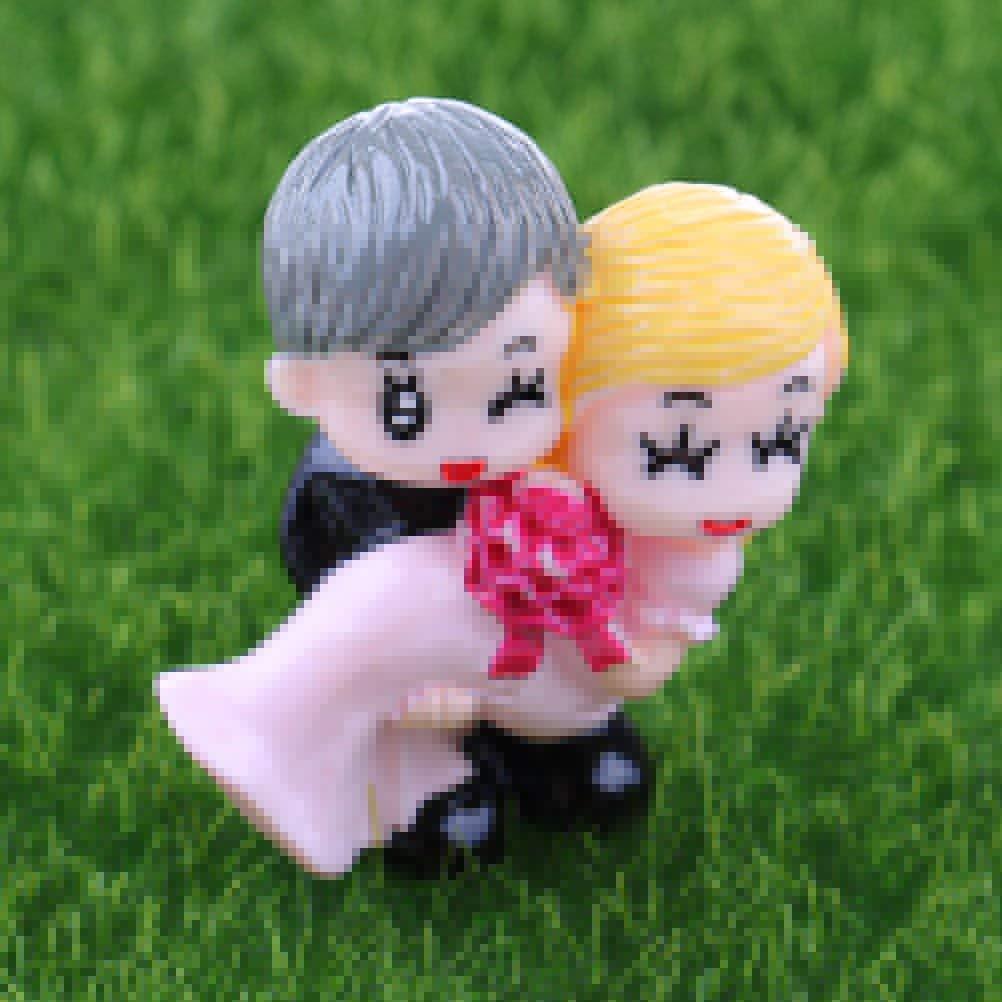 Yiphates Miniature Garden Decor, Sweety Lovers Couple Figurines Miniatures Fairy Garden Crafts Decoration Accessories, Miniature Fairy Garden Decor