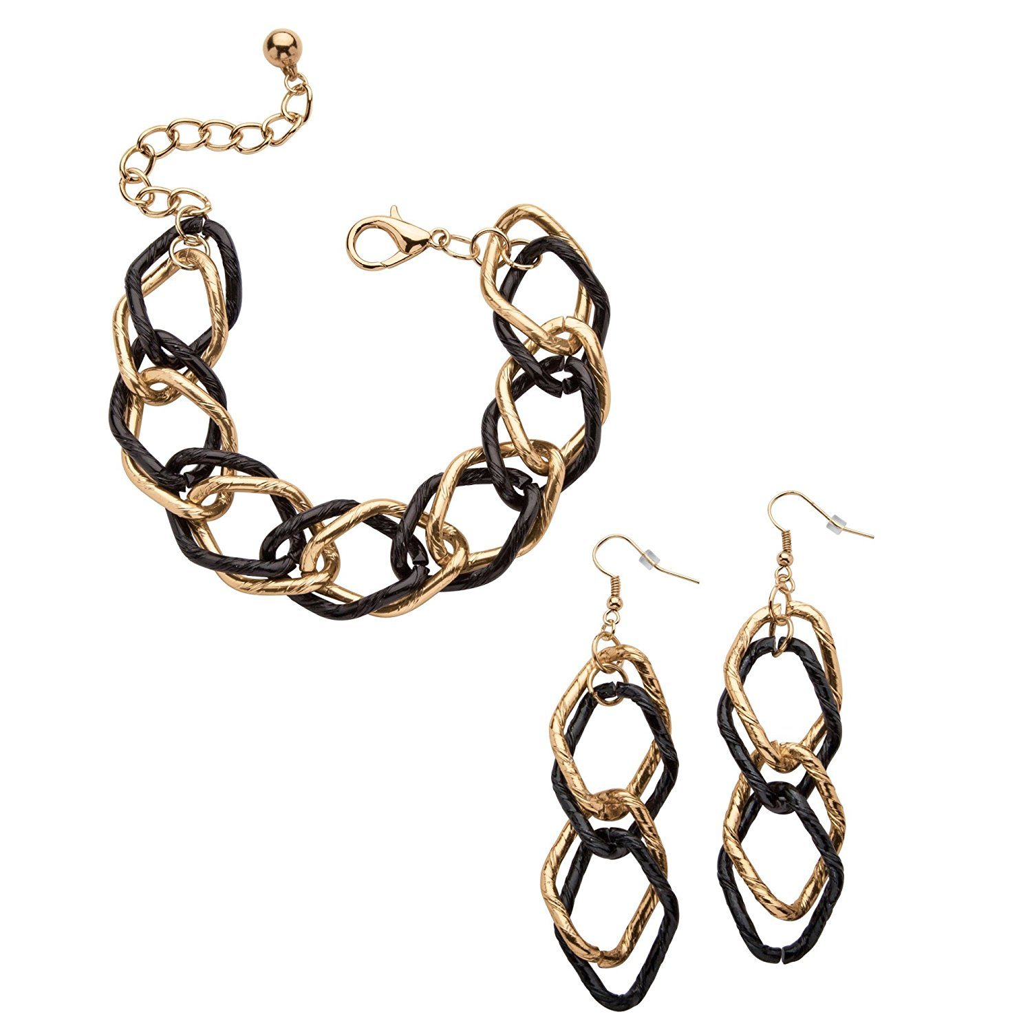 """Gold Tone and Black Ruthenium-Plated Double Curb-Link Bracelet and Drop Earrings Set 8"""""""