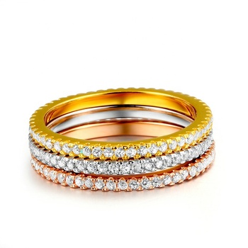 Concise Classical Mini CZ Diamond 3 Color Rose Yellow White Color Ring Sets Trio Wedding Rings Set For Women Gift R647