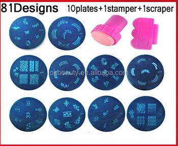 81Designs Nail Art Template Set 10pcs Konad Stamping Image Plates And Stamper ScraperNail