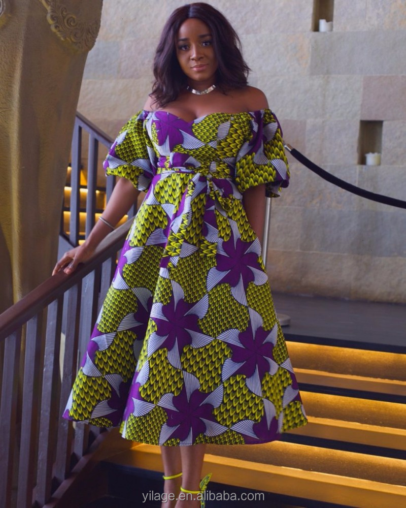 ecb705a4971409 Traditional African Clothing Off Shoulder Puff Sleeve African Midi Dress