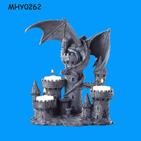 Medieval fierce dragon perched tower Tealight Candle Holder