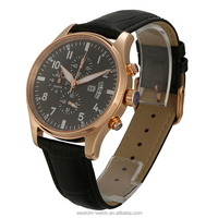 2017 chronograph luxury gents watch with genuine leather strap