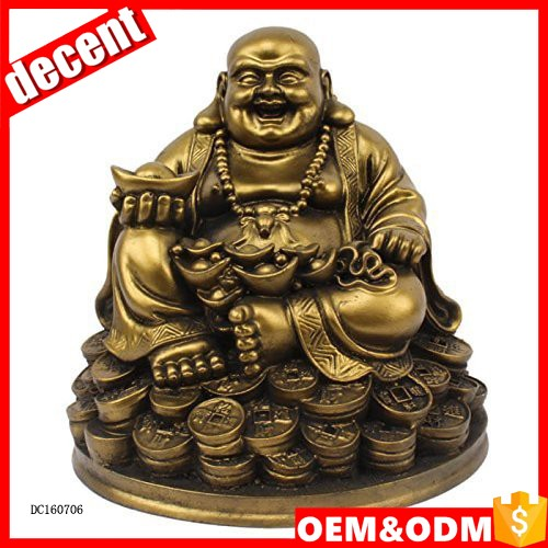 Custom mini gold resin happy buddha