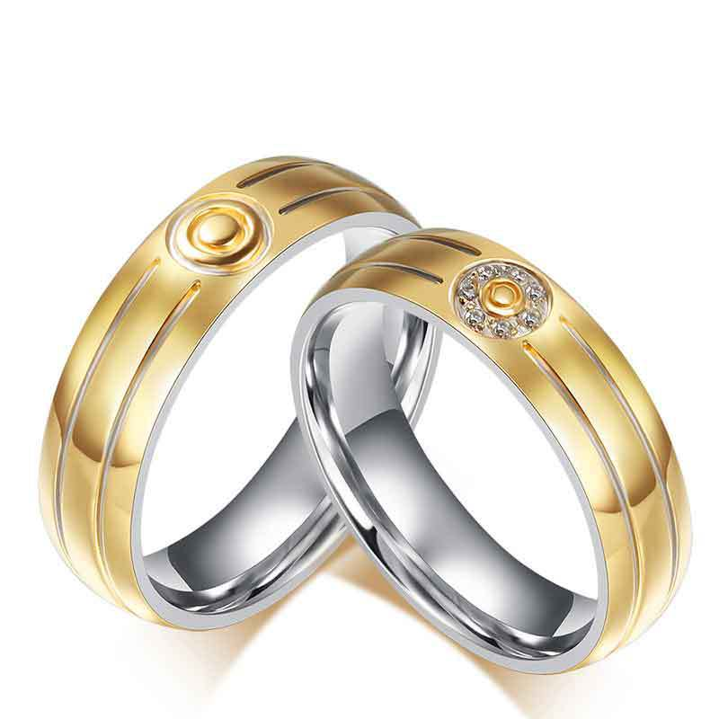 18K gold jewelry lover couple rings stainless steel wedding bands engagement rings