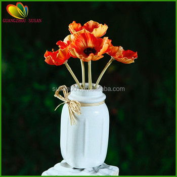 Artificial Mini Red Poppy Flower Bouquet With Glass Bosai For Sale