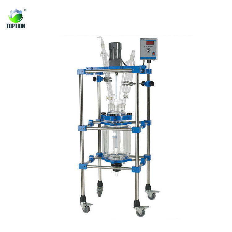 50l 100l 150l 200l Pilot Batch Reactor Jacketed Double Wall Reactor Met Rectificatie Kolom En Condensor Uit Toption