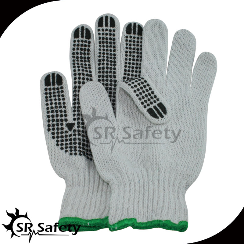 SRSAFETY polycotton pvc gloves knitted with PVC dots one side