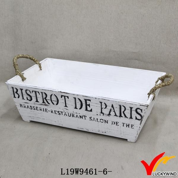 rope handle white vintage wooden paint tray