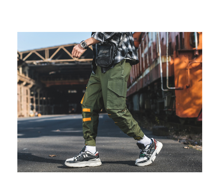 Men  Cargo Pants 2019 Mens Hiphop Khaki Pockets Joggers Pants Male Korean Fashion Sweatpants Overalls