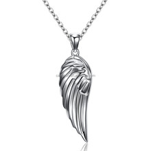 hot sale jewelry 925 sterling silver plain design angel wing feather pendant necklace