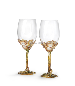Roro Orchid Flower Red Wine Glass Pewter Design Enamel Color