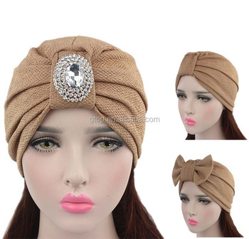 Luxury Women Bow Turban Hat With The Sliver Diamante Brooch ... d2921974da8
