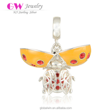 Orange Enamel Insect Bee Bulk Custom Made Charm For European Style