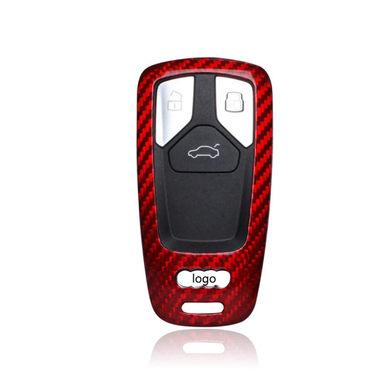 100% Carbon Fiber Case For Audi Key Fob, Genuine Carbon Fiber Cover For Audi A4L 2017 Q7 TTS 2016 TT 2015 Smart Keyless Fob Remote Key, New Car Key Fob Case For Men Fob Cover Shell For Women - Red