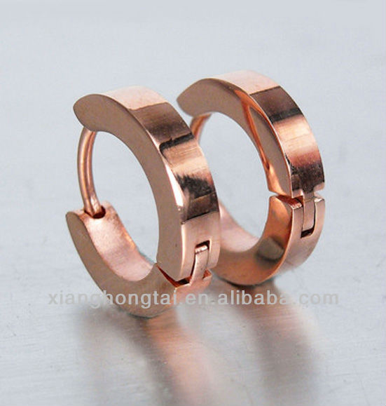 Rose Gold stainless Steel Hoop Earrings for Men and Women