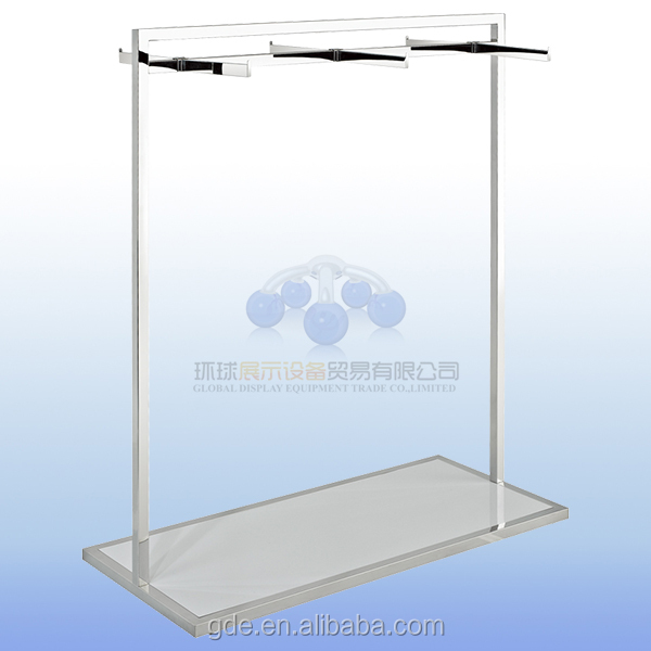 Stainless steel garment display rack with under platform