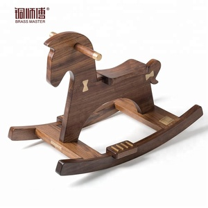 BrassMaster Solid Walnut Wood Rocking Horse For Kids